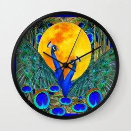FULL GOLDEN MOON BLUE PEACOCK  FANTASY ART Wall Clock