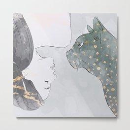Mina and cat Metal Print