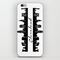 cleveland iPhone & iPod Skins featuring Cleveland Skyline by Madison Asher