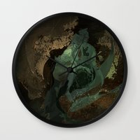 nick cave Wall Clocks featuring cave by anobviousaside
