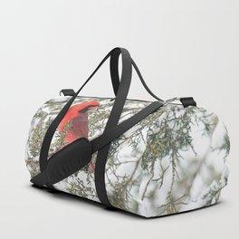 Cardinal on a Snowy Cedar Branch (v) Duffle Bag