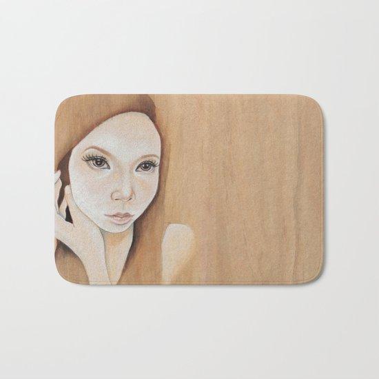 Self Portrait on Wood Bath Mat