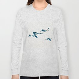 Beautiful Cranes in white background Long Sleeve T-shirt