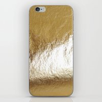 gold foil iPhone & iPod Skins featuring Gold Foil by The Wellington Boot