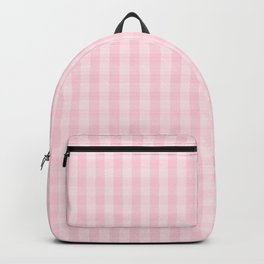 Light Soft Pastel Pink Gingham Check Plaid Backpack