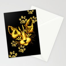 Cute Cat Portrait with Paws Prints Stationery Cards