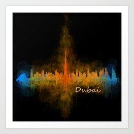 Dubai, emirates, City Cityscape Skyline watercolor art v4 Art Print