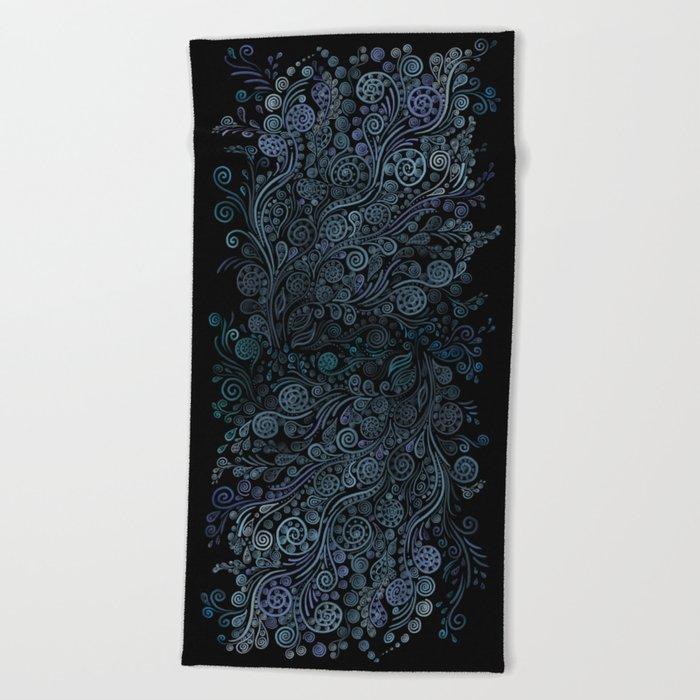 3D ornaments, blue Beach Towel