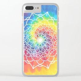 RAINBOW TIE DYE MANDALA Clear iPhone Case