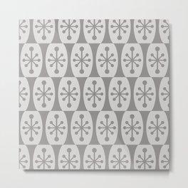 Mid Century Modern Atomic Fusion Pattern 335 Gray on Gray Metal Print