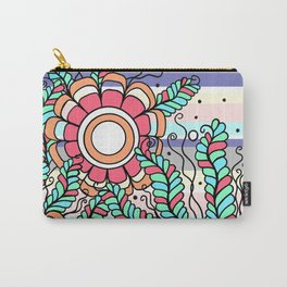 Doodle Art Three Flowers Vines with Stripes Carry-All Pouch