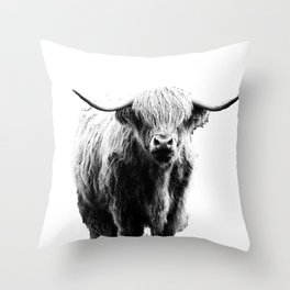 Newspaper Print Style Highland Cow. Scotland, Bull, Horns. Throw Pillow