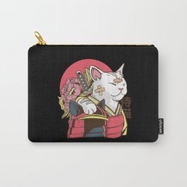 Funny anime Samurai Cat with armor and bruises Carry-All Pouch