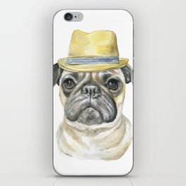 Pug with Fedora Hat Watercolor iPhone Skin