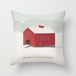 """Merry Christmas"" Holiday Card Throw Pillow"