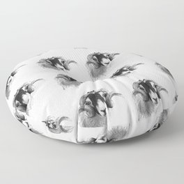 Tiled black and white moorland sheep Floor Pillow