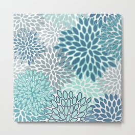 Festive, Floral Prints, Teal, Turquoise and Gray Metal Print