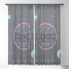 Zodiac Astrology Wheel Sheer Curtain