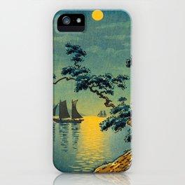 Tsuchiya Koitsu Maiko Seashore Japanese Woodblock Print Night Time Moon Over Ocean Sailboat iPhone Case