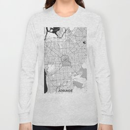 Adelaide Map Gray Long Sleeve T-shirt
