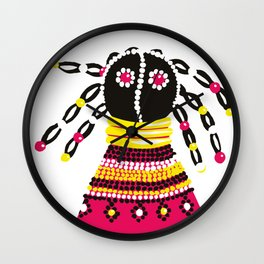African doll in pink Wall Clock