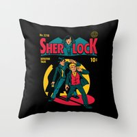 tintin Throw Pillows featuring Sherlock Comic by harebrained