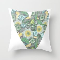Green Patterned Heart Throw Pillow