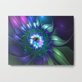 Abstract Flower Colorful Fractal Art Metal Print