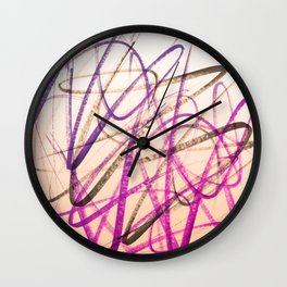 Expressive Royal Fuchsia and Lavender Abstract Wall Clock