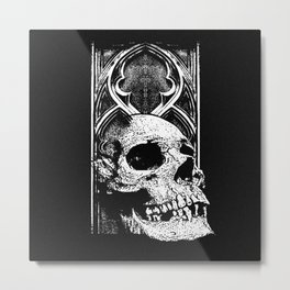 Gothic Skull white ink Metal Print