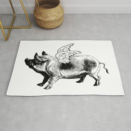 Pig with Wings | Flying Pig | When Pigs Fly | Pigs with Wings | Vintage Pig | Rug