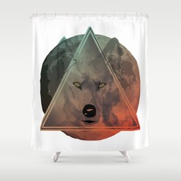 Wolf Galaxy (Green) Shower Curtain