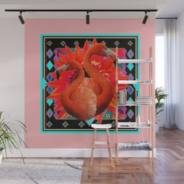 PINK ART DECO FLAMINGO  RED FLOWERS BLACK ART Wall Mural