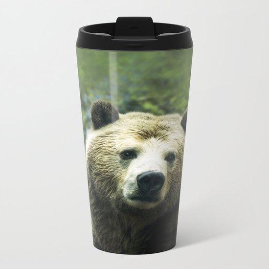 Big Brown Bear Grizzly Wildlife Forest Metal Travel Mug
