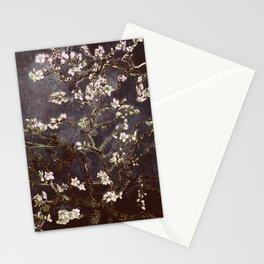 Vincent Van Gogh Almond Blossoms dark gray slate Stationery Cards