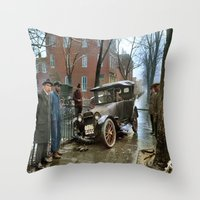 jewish Throw Pillows featuring Rainy Day, Washington, D.C. by Brown Eyed Lady