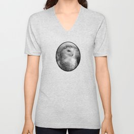 Snowy Owl - Black & White Unisex V-Neck