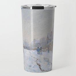 Snow Scene at Argenteuil Travel Mug