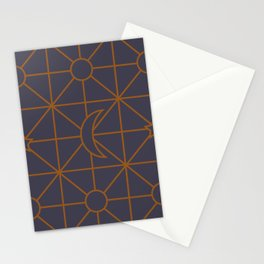 the moon grid pattern 2 Stationery Cards