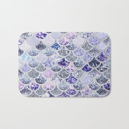 Purple and Ultra Violet Trendy Glitter Mermaid Scales Bath Mat