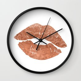 Rose gold kiss on the lips Wall Clock