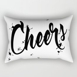 Black And Wte Cheers Typography Quote Rectangular Pillow