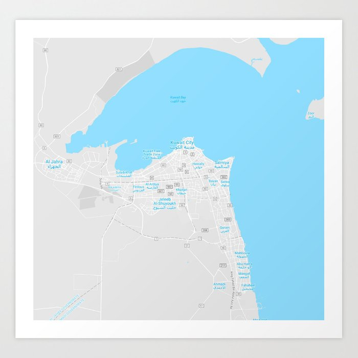 Minimalist Modern Map of kuwait City, Kuwait 6 Art Print by asarstudios