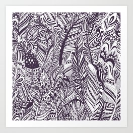 Purple white hand painted tribal bohemian feathers pattern Art Print