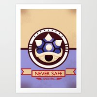 mario kart Art Prints featuring Never Safe - Mario Kart by TomStreetArt