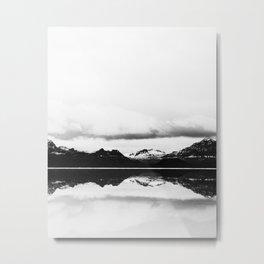 Black and white nature, Scandinavian, Minimal Metal Print