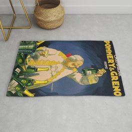 Vintage Champagne Pommery & Greno Reims Advertising Poster Rug