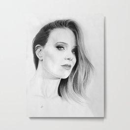 Simone Simons Pencil Portrait. Metal Print
