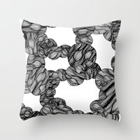 muscle Throw Pillows featuring Muscle Marbles by Shifra Whiteman