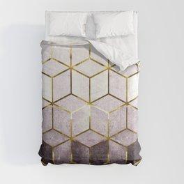 Elegant Geometric Purple Cubes with Gold Lining Comforters